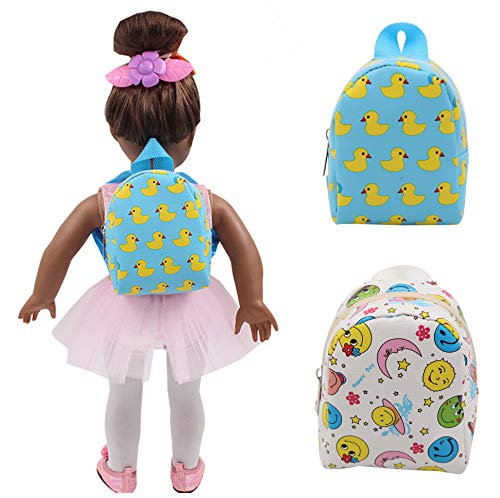 UUsave 2Pcs 18 Inch Doll Backpack Doll Accessories Carton Schoolbag Shoulder Backback Compatible with 18 Inch American Girl Dolls (Set of 2)