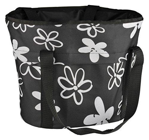 FISCHER Lenker-Einkaufskorb aus Textil mit Schnellbefestigung Per Knopfdruck, Schwarz