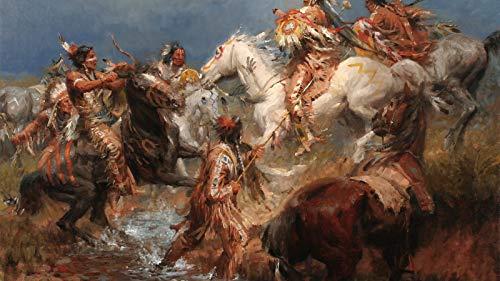 Måla efter nummer för vuxna,DIY akrylmålning efter nummer Kit för nybörjare eller barn som gåva (16X20 tum) Ramlös-1831,En sammandrabbning mellan kråkan och siouxen