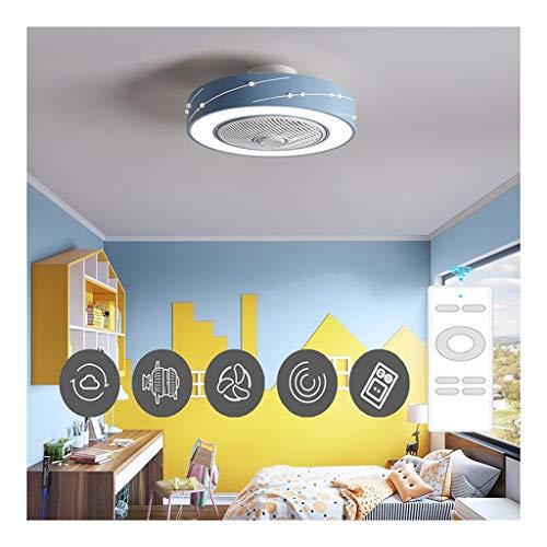 Round Cool Plafondventilator Met Lichten,50cm Inbouw Ventilator Aan Het Plafond Met Licht Verstelbare Windsnelheid, Dimbaar Met Afstandsbediening (Color : Blue)