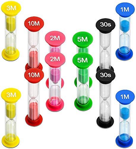 MOKIU Sanduhr zum Zähneputzen für Kinder - Set 12 Stück farbenfrohe Sanduhren Lernuhren verschiedene Zeiten 30 sek plus 1 - 2 - 3 - 5 - 10 min