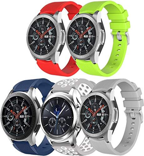 NeatCase Correa de Reloj Recambios Correa Relojes Caucho Compatible con Galaxy Watch 46mm / Watch 3 45mm / Gear Live - Silicona Correa Reloj con Hebilla (22mm, 5PCS B)