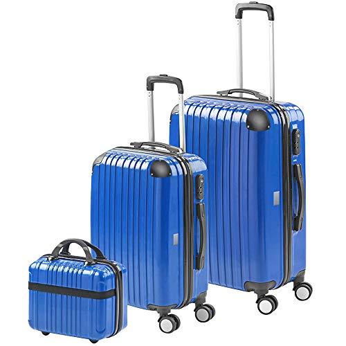 Gridinlux | Juego 2 Maletas y Neceser | Set de Maletas de Viaje | Maleta Grande (65x39x24) Pequeña (55x33x21) Neceser | ABS | Rígidas, Resistentes y Duras | 4 Ruedas | Cómodas y Ligeras | Azul