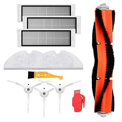 Accessory Kit for XIAOMI MI Robot Vacuum Cleaner Theresa Hay | 3pcs Side Brush | 3pcs HEPA Filter | 1pcs Main Brush |1pcs Cleaning Tool |2pcs Mop Cloths