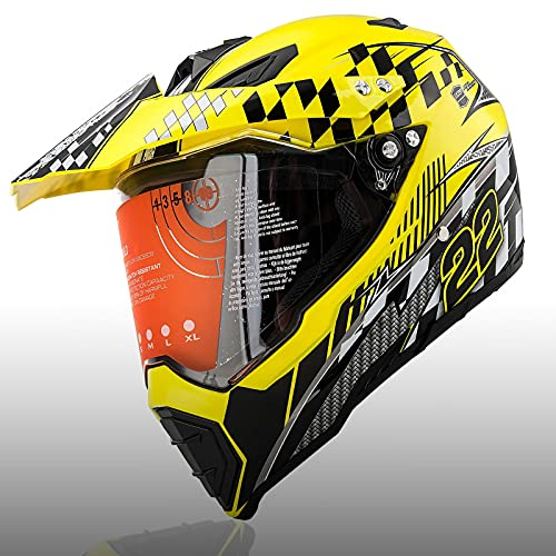 Motorcycle X-Large Full Face Helmet Off-Road Dirt Bike Helmets Motorcycle Modular Helmets with Flip Up Visor Sun Shield Fit for Compatible with Adult Lemon Yellow