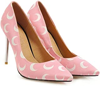 Pointed Printed High Heels Large Size 40 To 46 For Banquet Wedding Dress Daily (Color : Pink, Size : 45)