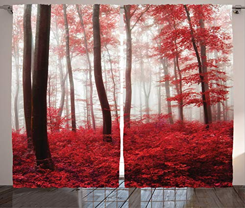 """Ambesonne Nature Curtains, Saturated Picture of Dreamy Mystical Forest with Vivid Effects Mother Earth Theme, Living Room Bedroom Window Drapes 2 Panel Set, 108"""" X 108"""", White Red"""