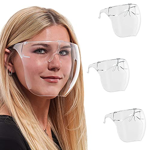 Salon World Safety (Pack of 3) Protective Face Shield Full Cover Visor Glasses with Frames - Ultra Clear Reusable Plastic Goggles, Anti-Fog - Eye Nose Mouth Personal Protection, Sanitary Droplet Guard