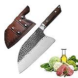 cuchillo China Cleaver mano forjó 5cr15mov hoja de acero inoxidable del cocinero cuchillos de cocina funda de cuero camping barbacoa Cocinar de cortar (Color : A Knife with sheath)