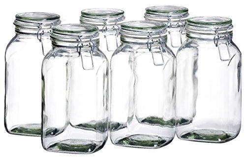 MÄSER 925343 Gothika, Einmachgläser groß, 6er Set à 2,5 l, made in Germany, Vorratsgläser mit Deckel und Drahtbügel zum luftdichten Aufbewahren, Einkochen und Einlegen, Glas, transparent