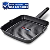 Frying Pan 11 inch, Deep Square Grill Pan for Steak, Fish and Meat, 6mm Forged Cast Aluminum with...