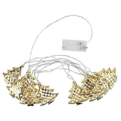 LED-Tannenbaum-Lichterkette, 10 LED-Lämpchen | warmweiß | mit goldenen Tannenbäumen | batteriebetrieben | Weihnachts-Deko | Gesamtlänge 210 cm