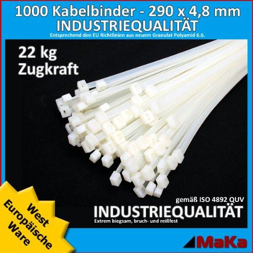 1000 Stk Kabelbinder natur 290 x 4,8 mm West-Europäische Ware / Industriequalität @@ Top Bewertungen @@