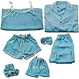 LEYUANA 7Piece / Set Pijamas Set Mujeres, Pijamas de Primavera de Algodón Sexy Camisa Larga Femenina M Style1