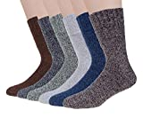 10. 6 Pairs Wool Socks Mens Winter Warm Thermal Soft Casual Socks for Men