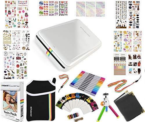 Polaroid ZIP Mobile Printer Gift Bundle ZINK 9 Unique Colorful Sticker Sets Pouch Twin Tip Markers Accessories