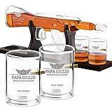 Murrano Caraffa per Whisky in Vetro a Forma di Fucile - Incisione Personalizzata - Decanter in Vetro da 800 ml + 4 Bicchieri da 300 ml - Set Bicchieri Whisky - Idea Regalo per Lui - papà