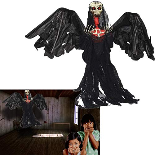 Dazzling Toys Halloween Flying Ghost Skeleton Reaper 3 Ft. Scary Big Black Winged Animated Halloween Party Decoration