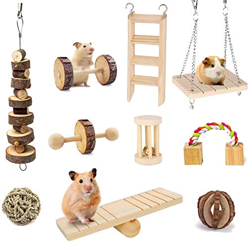 Suwikeke 10 PCS Hamster Chew Toys, Natural Wooden Dumbells Exercise Bell Roller, Chewing and Playing Exercise Teeth Care Molar Small Pets Accessories for Chinchillas Guinea Pigs Gerbils Bunnies Rats