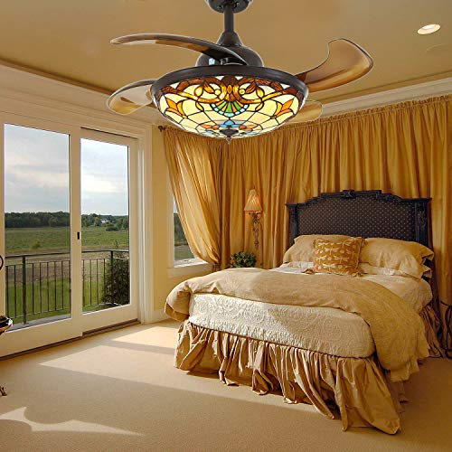Tiffany Ceiling Fan with Retractable Invisible Blades