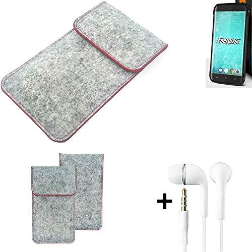 K-S-Trade® Handy Schutz Hülle Für Energizer H550S Schutzhülle Handyhülle Filztasche Pouch Tasche Case Sleeve Filzhülle Hellgrau Roter Rand + Kopfhörer