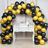 PartyWoo Doré Noir Ballon, 100pcs 12 Pouces Or Ballon Baudruche Noir Ballons Latex pour Gatsby Decoration, Fete Hollywood, 1920 Accessoires, Deco Theme Vin, Deco Fete Or Noir, Eid Mubarak Decoration