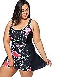 DELIMIRA Donna Costume da Bagno Floral Stampato con Gonna Abito a Nuotare Nero 46