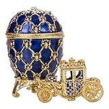 huevo ruso de Estilo Faberge / caja de joya con carruaje y el Águila imperial 9,5 cm azul