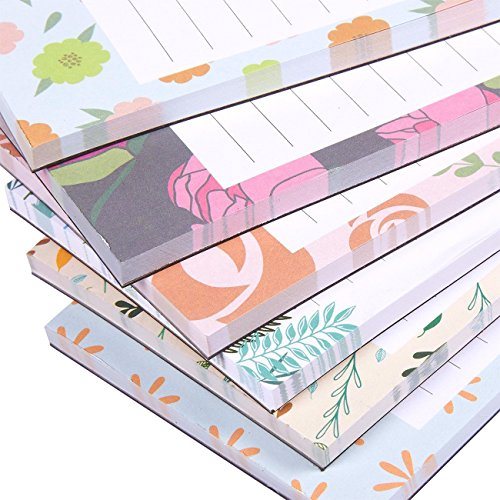 Floral Design Magnetic Notepad Stationery - Hangs on Magnetic Surfaces Including Fridge, Whiteboards - 60 Sheets Per Pad - 6 Pack