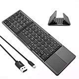 Folding Bluetooth Keyboard, Jelly Comb Rechargeable USB Wired & Wireless Keyboard with Touchpad UK Layout Qwerty for Tablet,Computer,Laptop,Smartphone, Win,IOS,Android,Mac OS System, Space Gray