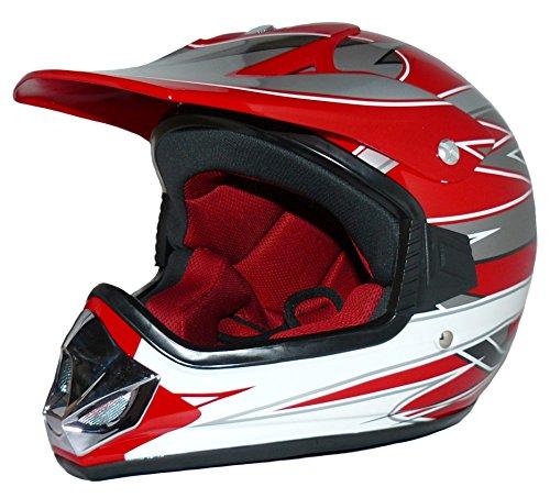 Protectwear Casque de motocross pour enfants, MaX Racing, rouge / argenté / blanc brillant, V310-RT, Taille: 2XS / Youth M (51/52 cm)