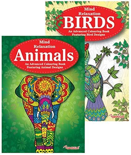 Libri da colorare per adulti, motivi con animali e uccelli, rilassanti, antistress, ideali come regalo di Natale, confezione da 2