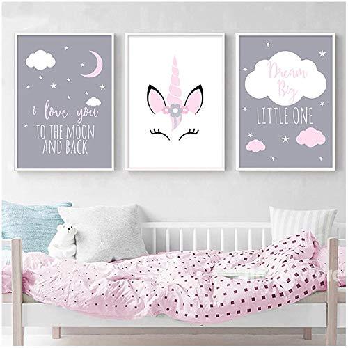 LUCKYYY 3pcs Unicorno Fai da Te Diamante Pittura Bambino Ragazza Scuola Materna Wall Art Diamante Ricamo Ti Amo alla Luna Pittura Bambini Tela