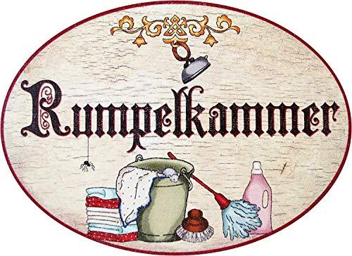 Plaque de porte en bois avec inscription « Rumpelkammer » au design ancien
