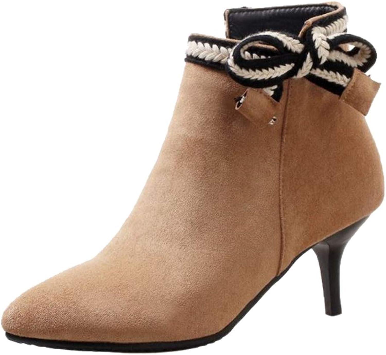 CuteFlats Women Thin Heel Ankle Boots Black