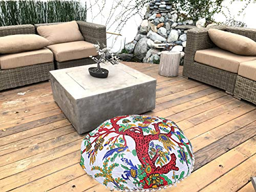 Indian Tree of Life Mandala Cotton Round Footstools Throw Kids Siting Round Ottomans Cushion Cover Large Ottomans Cover Decor