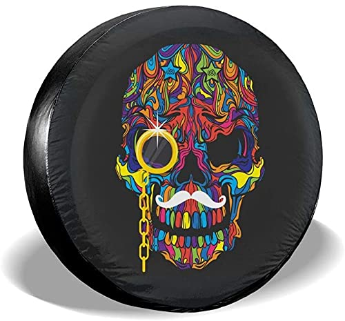 Skull with Gold Monocle - Cubierta para llanta de repuesto,poliéster,universal,de 15 pulgadas,para llantas de repuesto para remolques,casas rodantes,SUV,ruedas de camiones,camiones,autocaravanas,acce