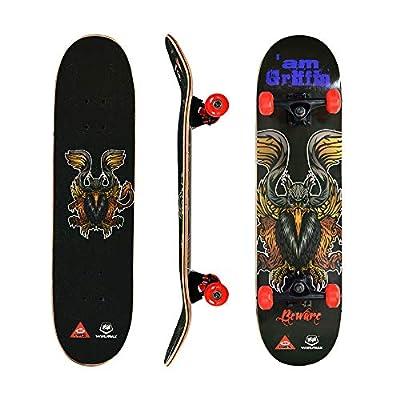 WIN.MAX Skateboard, Komplettboard mit ABEC Kugellager, 31 * 8 Zoll Holzboard aus 9 Fach Verleimte Ahornholz mit oder ohne LED