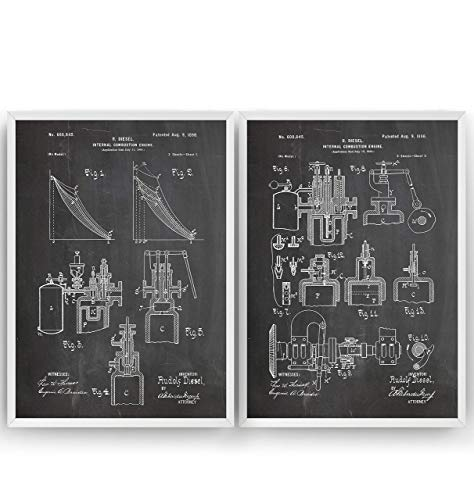 Diesel Combustion Engine Patent Poster Prints Art - Set Of 2 - Pages 1-2 - Engineer Gift Mechanic Merchandise Vintage Old Original Blueprint Collector Wall Decor - Frame Not Included