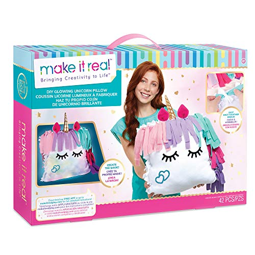 Make It Real - DIY Glowing Unicorn Pillow - DIY Arts and Crafts Kit for Kids - Includes Color Changing Lights, Pre Cut Fleece & Stickers - No Sewing Required - Unicorn Bedroom Decor