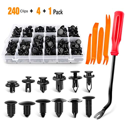 GOOACC 240PCS Bumper Retainer Clips Car Plastic Rivets Fasteners Push Retainer Kit Most Popular Sizes Auto Push Pin Rivets Set -Door Trim Panel Fender Clips for GM Ford Toyota Honda Chrysler