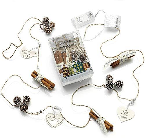 Auraglow Set de 15 con aroma a canela, cono de pino con batería, interior, navidad, LED, festivo, cadena de luces