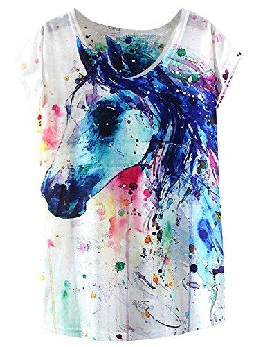 Doballa Damen Pferd T-Shirt Grafikdruck Kurzarm Casual Oberteile (S, Weiß)