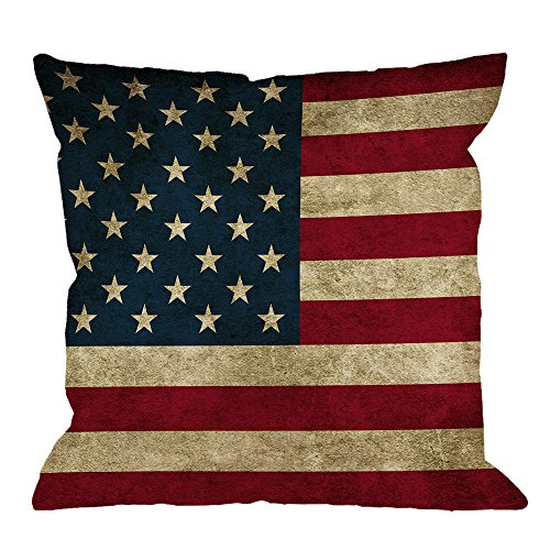 HGOD DESIGNS Vintage American Flag Pillow,USA Flag Throw Pillow Cotton Linen Square Cushion Cover Standard Pillowcase for Men Women Kids Home Decorative Sofa Armchair Bedroom Livingroom 18X18 inch