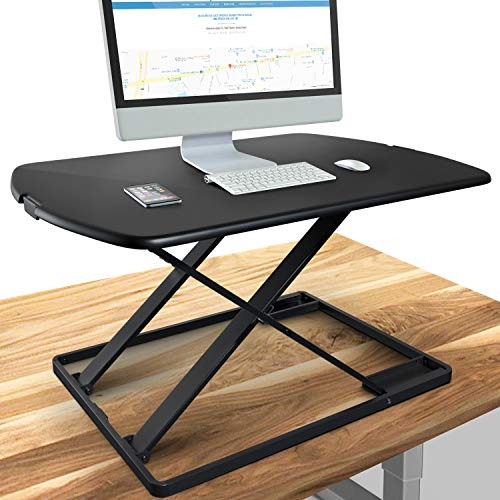 Deskfit 3in1 höhenverstellbarer Schreibtisch-Aufsatz 80cm | Stufenlose Pneumatik Gasfeder, hochwertige Stahl Sitz-Steh Workstation, stabile Doppel-X Konstruktion, Laptoptisch | DF50 Monitorständer