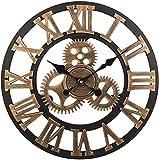 DZCGTP Soledi Vintage Reloj Europeo Retro Vintage Hecho a Mano 3D Engranaje Decorativo Reloj de Pared de Madera Vintage