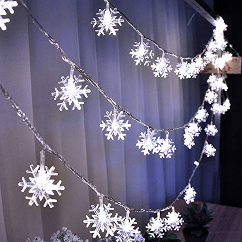 Christmas Decorations HuTools Christmas Snowflake Led Lights 16.5ft 50 LED Battery-Operated Fairy...