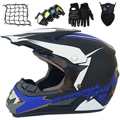 Casco Motocicleta Niños de 5 a 16 Años, Set de Cascos Motocross Adultos con Gafas/Máscara/Guantes/Red elástica (5 piezas) Casco de Bicicleta Downhill MTB Integral - Personalidad & Cool - Azul Mate