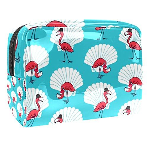 Bolsa de maquillaje portátil con cremallera bolsa de aseo de viaje para las mujeres práctico almacenamiento cosmético bolsa caballero flamenco