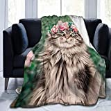 S Hat Floral Norwegian Forest Cat Flowers Fleece Blanket Comfortable and Warm, Bed, Sofa, Camping or Travel 60'x50'